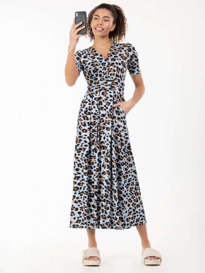 Jolie Moi Jenny Animal Print Maxi Dress, Blue Animal