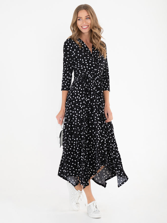 Jolie Moi Knot Front Hanky Hem Dress, Black Spot