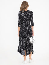Load image into Gallery viewer, Jolie Moi Knot Front Hanky Hem Dress, Black Spot
