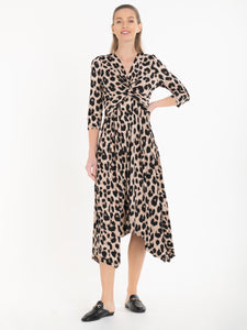 Jolie Moi Knot Front Hanky Hem Dress, Pink Animal