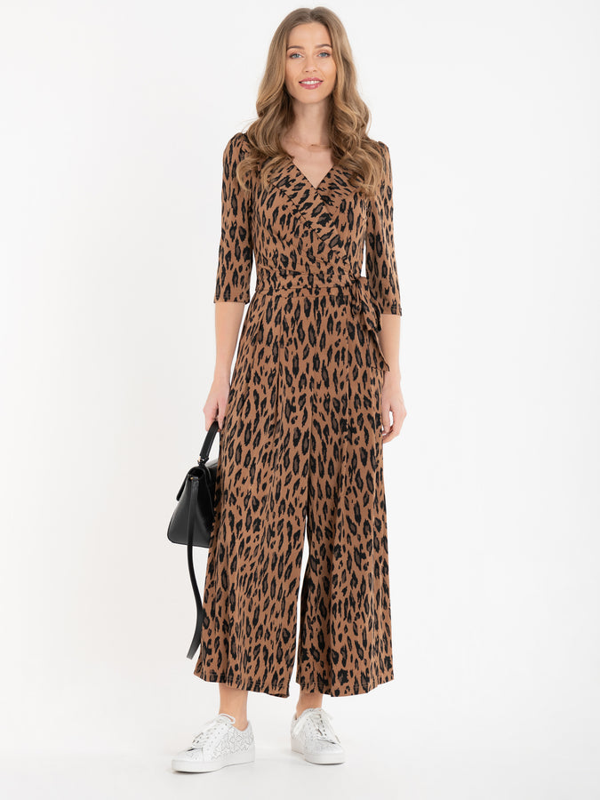 Jolie Moi Melissa Jumpsuit, Brown Animal