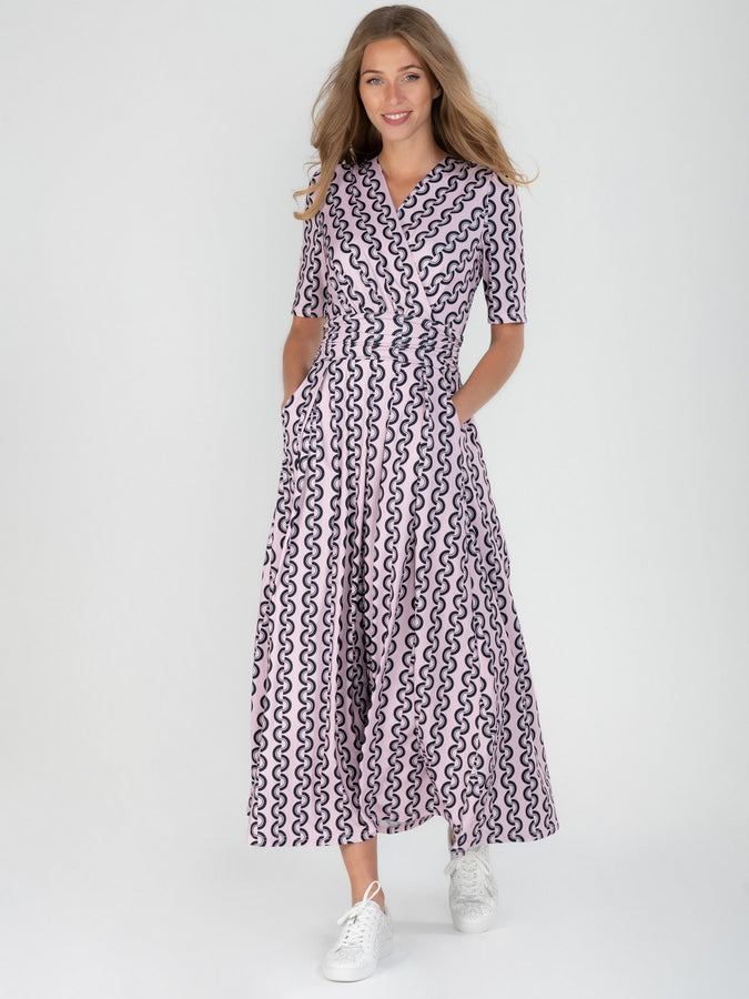 Jolie Moi Molly Geo Print Maxi Dress, Pink Geo