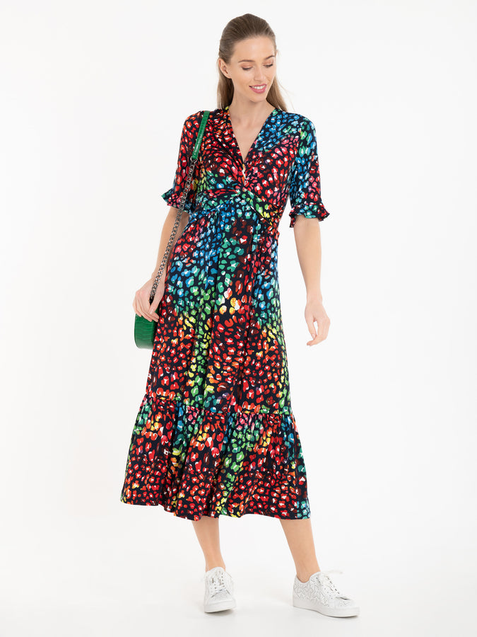 Jolie Moi Paola Tiered Midi Dress, Navy/Multi