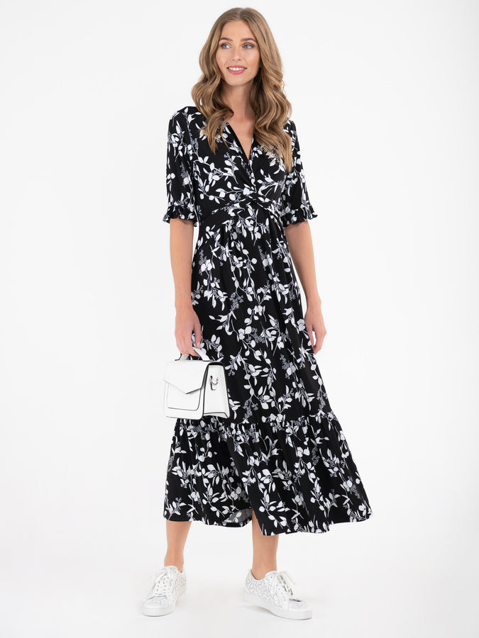 Jolie Moi Paola Tiered Midi Dress, Black White
