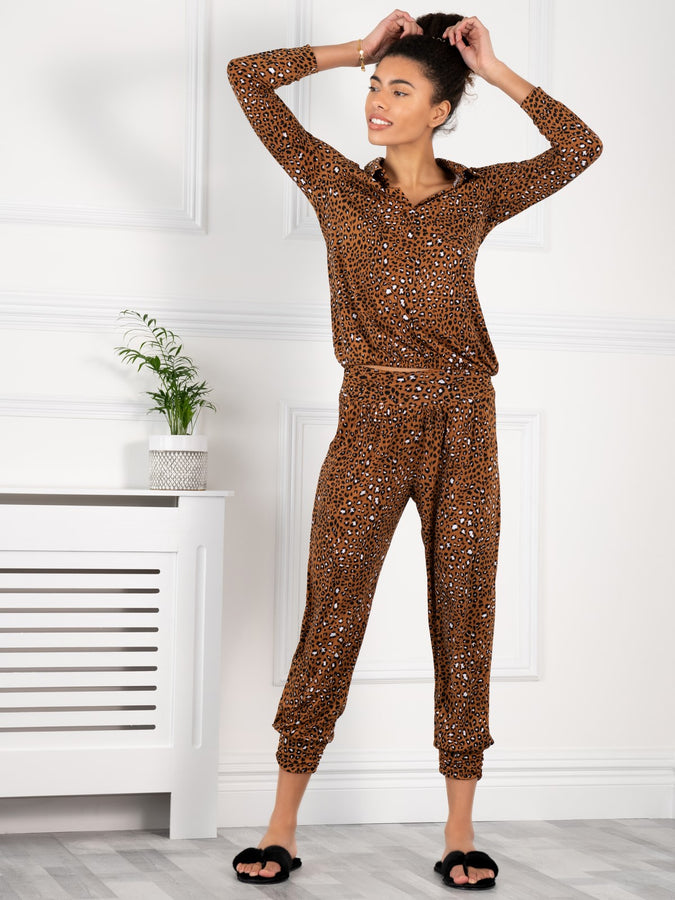 Jolie Moi Printed Blouse & Pants Co-ords Jersey Set, Brown Animal