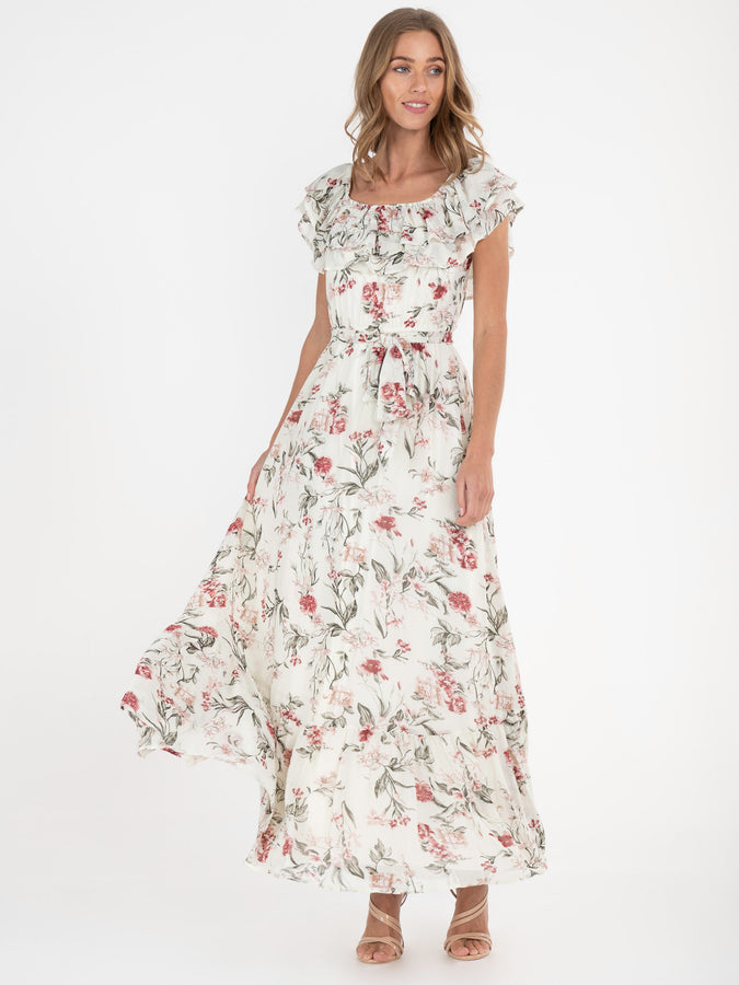 Jolie Moi Ruffle Floral Maxi Dress, Cream/Multi