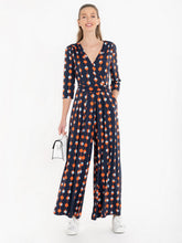 Load image into Gallery viewer, Jolie Moi Spot Wrap Front Jumpsuit, Navy