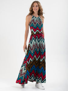 Wave Print Halterneck Maxi Dress