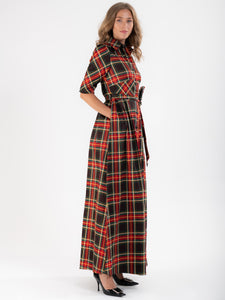 Checked Maxi Shirt Dress, Green Check