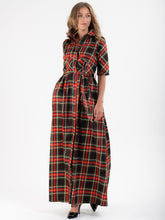 Load image into Gallery viewer, Checked Maxi Shirt Dress, Green Check