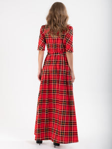 Checked Shirt Maxi Dress, Red Check