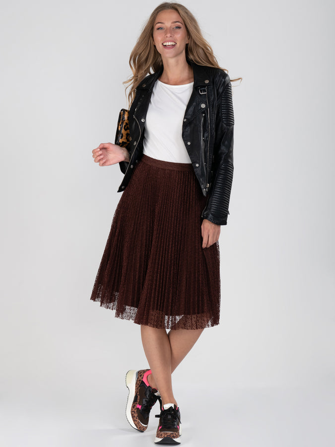 Lace Pleated A-line skirt
