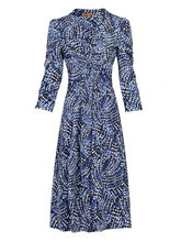 Load image into Gallery viewer, Jolie Moi 3/4 Sleeve Wrap Front Dress, Blue Pattern