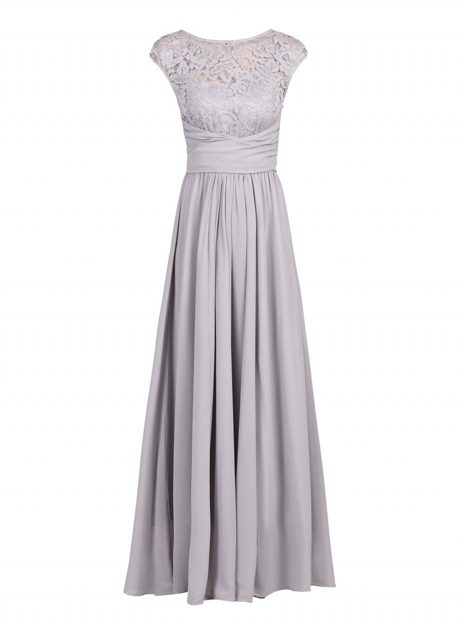 Jolie Moi Lace Bodice Pleated Maxi Dress, Silver Grey