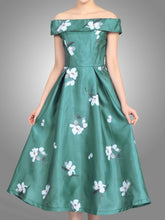 Load image into Gallery viewer, Jolie Moi 3D Pattern Bardot Dress, teal
