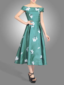Jolie Moi 3D Pattern Bardot Dress, teal