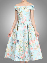 Load image into Gallery viewer, Jolie Moi Floral 3D Bardot Dress, Aqua