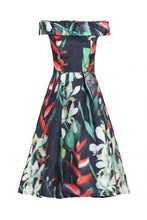 Load image into Gallery viewer, 3D Bardot Neck Prom Midi Dress, black floral