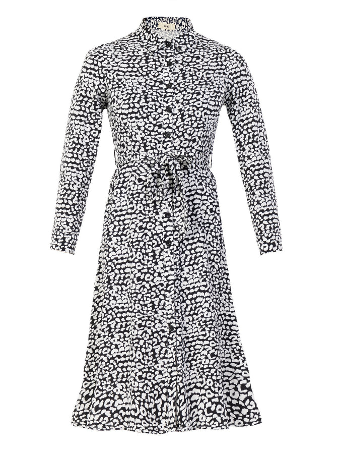 Susan Fit & Flare Shirt Dress , Black Animal