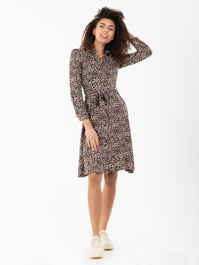 Susan Fit & Flare Shirt Dress , Brown Animal