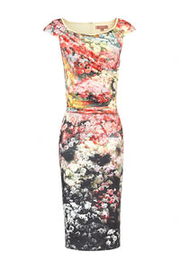Scuba Floral Print wiggle Dress, BLACK FL