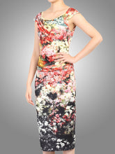 Load image into Gallery viewer, Scuba Floral Print wiggle Dress, Black Floral