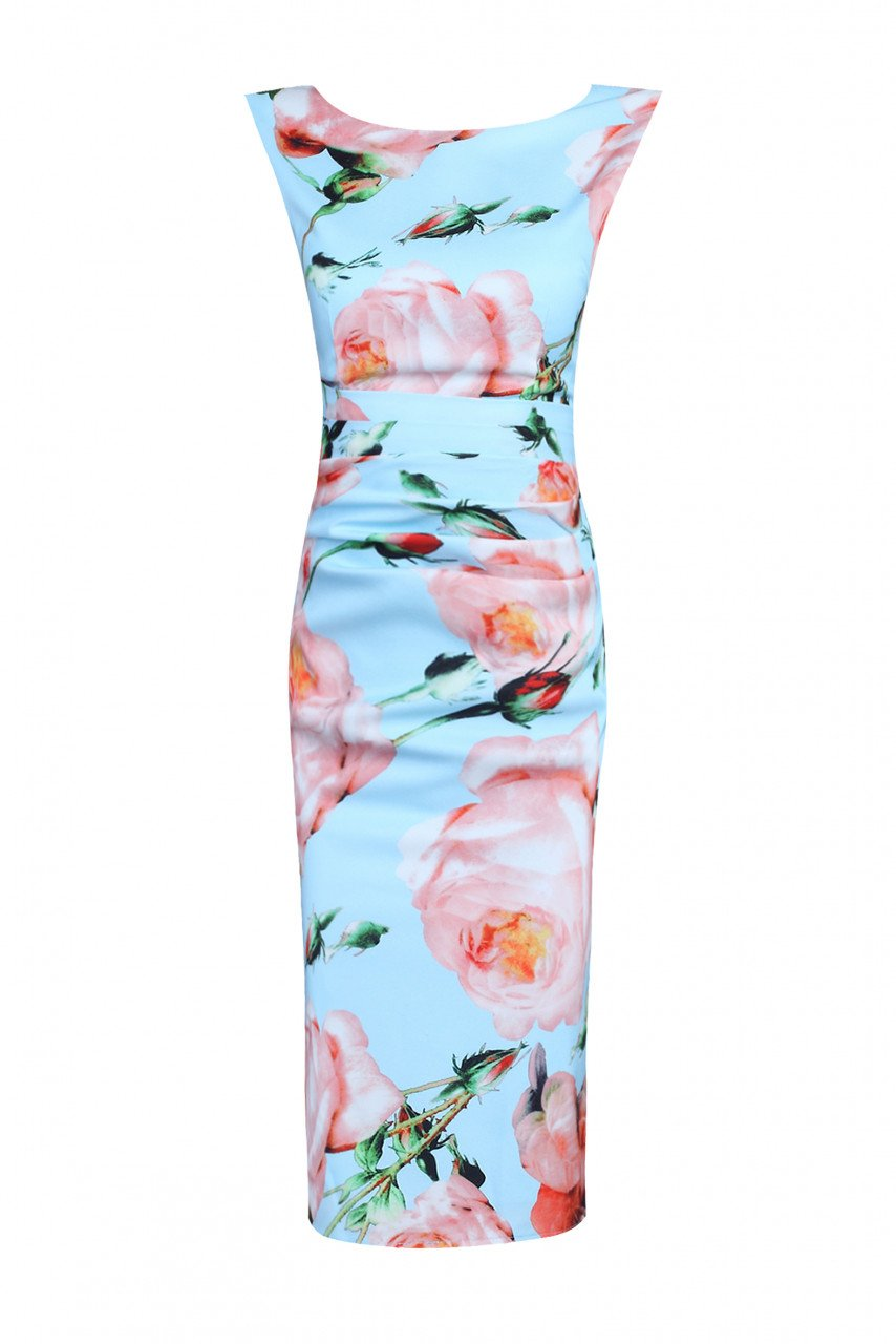 Jolie Moi Rose Print Ruched Shift Dress, Blue floral