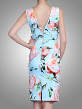 Load image into Gallery viewer, Jolie Moi Rose Print Ruched Shift Dress, Blue floral