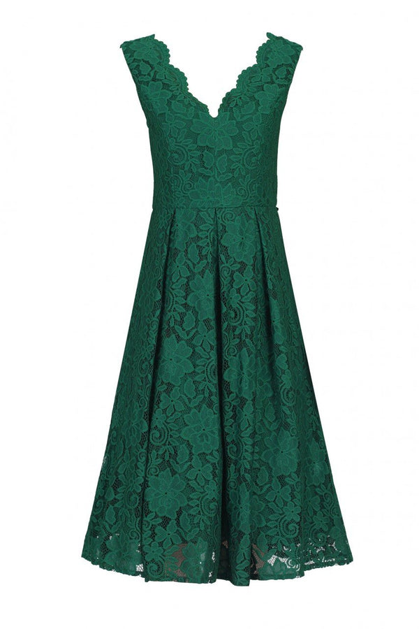 Scalloped V Neck Pleated Lace Prom Dress, Dark Green