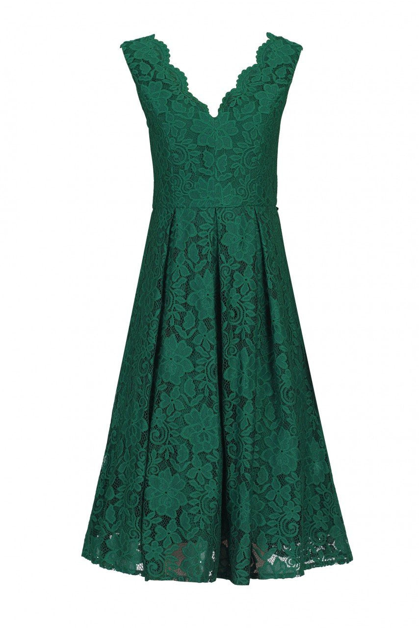 Jolie Moi Scalloped V Neck Pleated Prom Dress,DARK GREEN