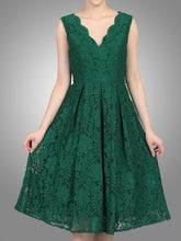 Load image into Gallery viewer, Jolie Moi Scalloped V Neck Pleated Prom Dress,DARK GREEN