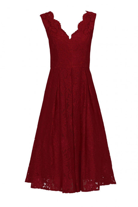 Scalloped V Neck Pleated Lace Prom Dress, Red