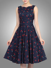 Load image into Gallery viewer, Jolie Moi 50s Belted Midi Dress, Navy Cherry