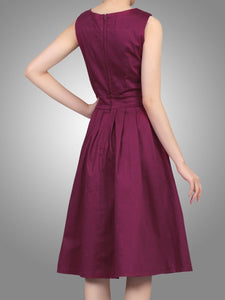 Jolie Moi Pleated 50s Dress, BURGUNDY