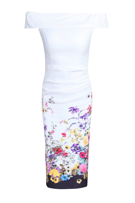 Jolie Moi Pattern Bardot Neck Dress, Cream floral