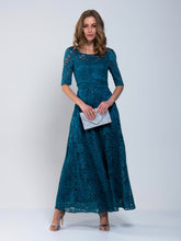 Load image into Gallery viewer, Floral Lace Tie Back Maxi Bridesmaid Dress, Teal