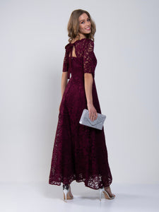 Elbow Sleeve Maxi Lace Bridesmaid Dress, Burgundy