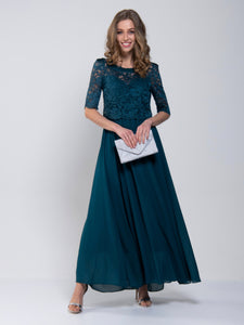 Lace Overlay Maxi Bridesmaid Dress