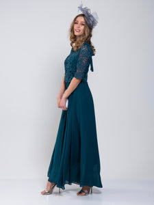 Lace Overlay Maxi Occasion Dress