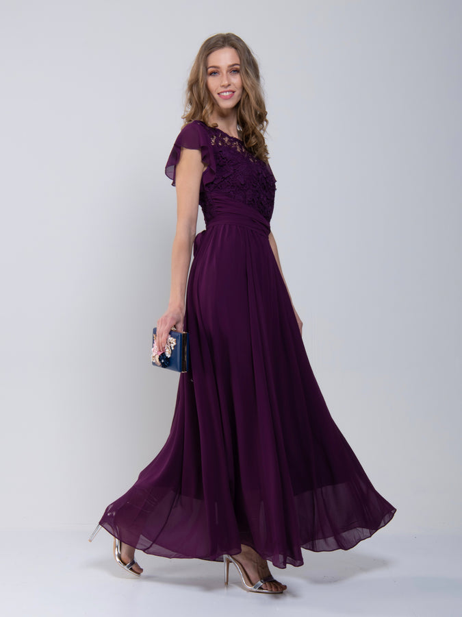 Crochet Lace Bodice Maxi Bridesmaid Dress