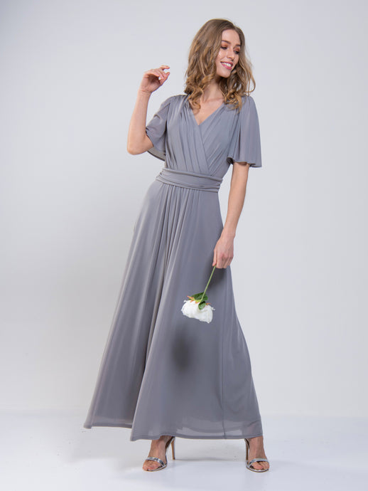 Mesh Flute Sleeve Maxi Bridesmaid Dress