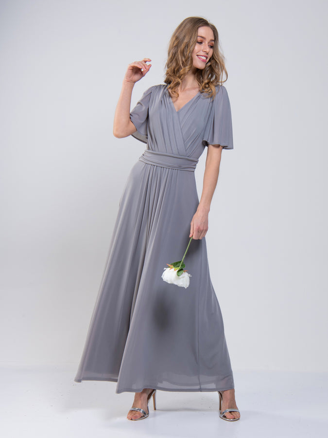 Mesh Flute Sleeve Maxi Dress