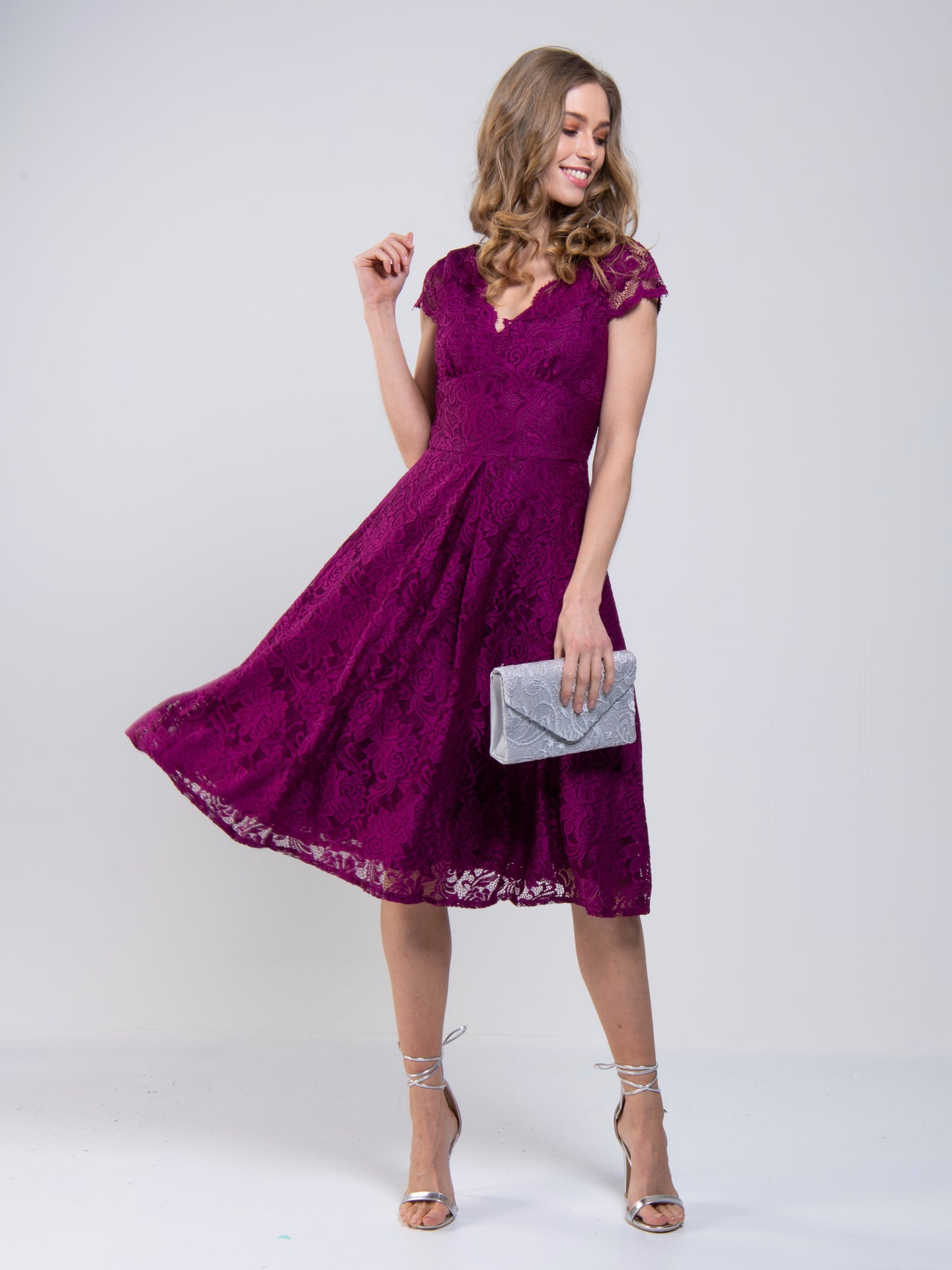 Scalloped V Neck Cap Sleeve Lace Dress, Dark Purple