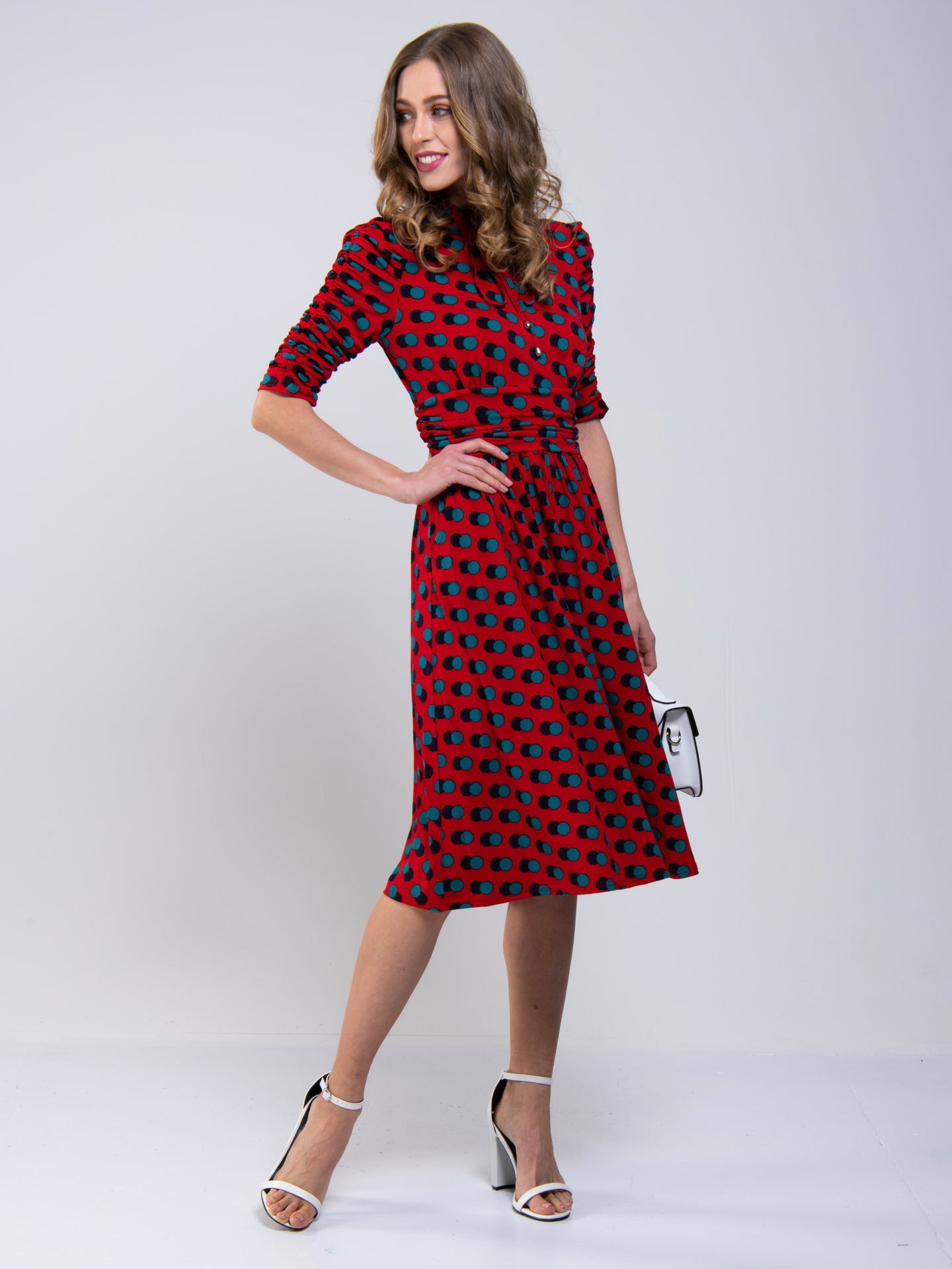 Joile Moi Tie Neck Midi Dress, Red Spot