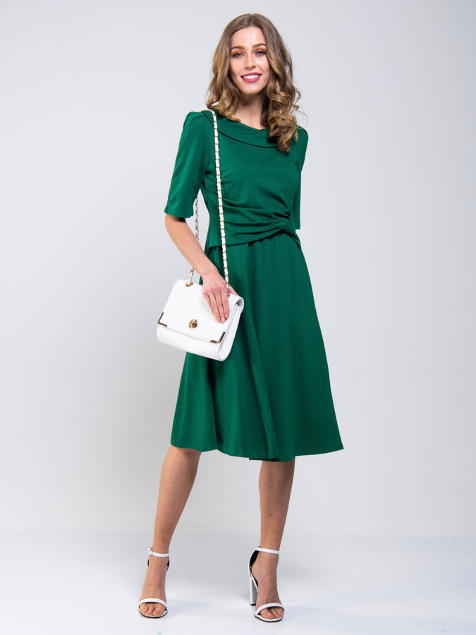 Roll Collar 50s Dress, Green