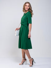 Load image into Gallery viewer, Jolie Moi Roll Collar 50s Dress, Green
