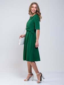Jolie Moi Roll Collar 50s Dress, Green
