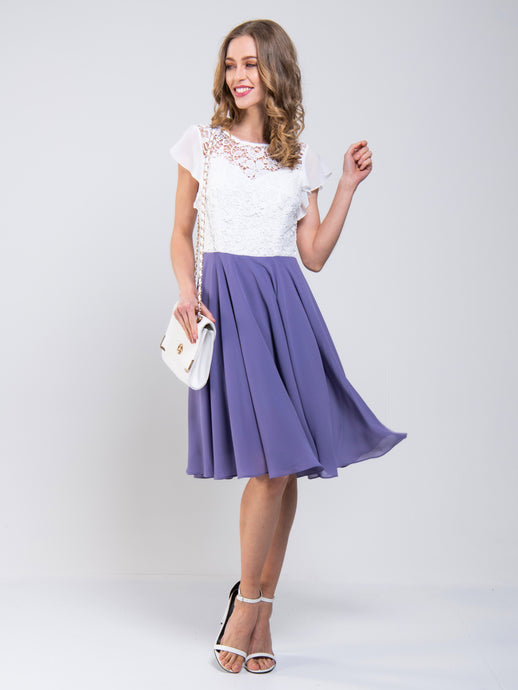 Contrast Lace Skater Dress, Lavender