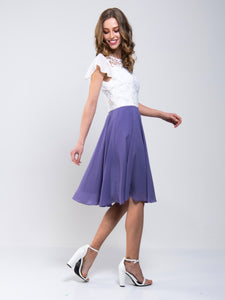 Contrast Lace Skater Bridesmaid Dress, Lavender