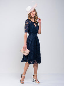 Jolie Moi Fit And Flare Lace Midi Bridesmaid Dress, Navy